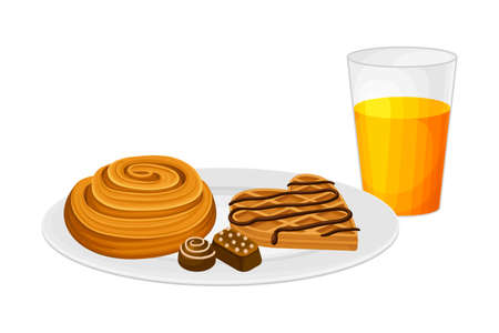 Sweet Twisted Bun and Waffle Rested on Plate with Glass of Fresh Juice Vector Illustration