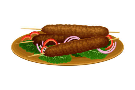 Skewered Kofta or Meatloaf Rested on Plate with Green Vegetables and Onion as Egyptian Dish Vector Illustration Illustration