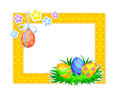 Horizontal Photo Frame or Picture Frame Decorated with Easter Holiday Symbols Vector Illustration Çizim