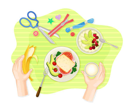 Human Hands Eating Sandwich and Banana Rested on Table Cloth with Scissors and Zipper Vector Illustration