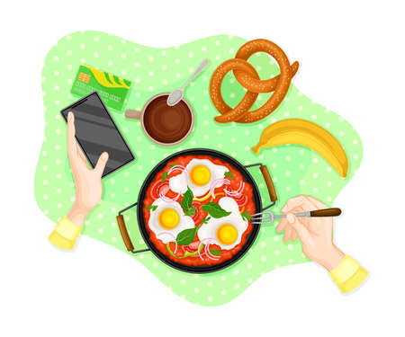 Table Setting Above View with Scrambled Eggs Served in Frying Pan and Hands Holding Smartphone Vector Illustration