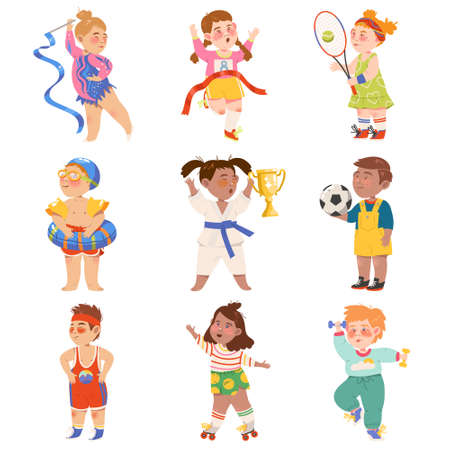 Cute Kids Athlete Roller Skating and Running Marathon Vector Illustration Set