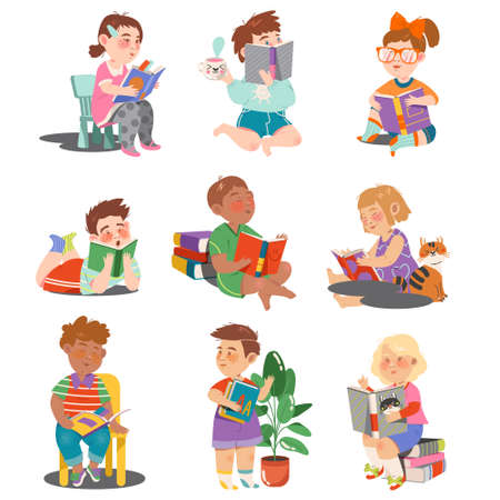 Interested Kids Sitting with Open Book and Reading Vector Set Vektorgrafik