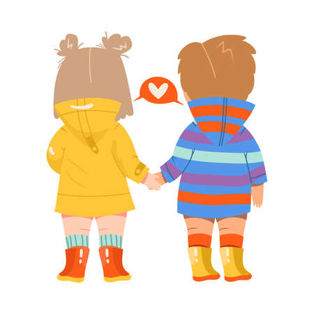 Little Girl and Boy Standing Back-first and Holding Hands Vector Illustration