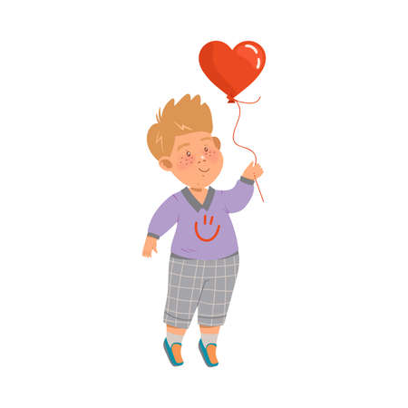 Shy Little Boy in Checkered Trousers Holding Heart Balloon Vector Illustration