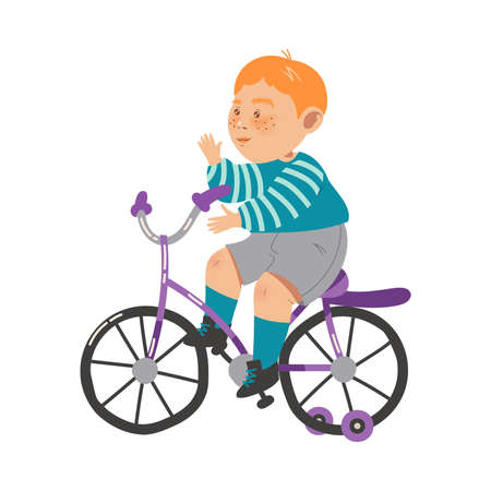 Flushed Little Boy Riding Bicycle and Waving Hand Vector Illustration