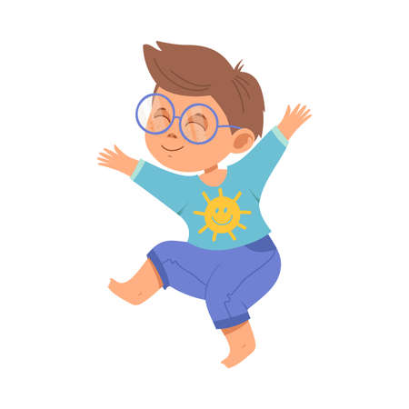 Funny Boy with Freckles Wearing Glasses Jumping with Joy and Excitement Vector Illustration Ilustración de vector