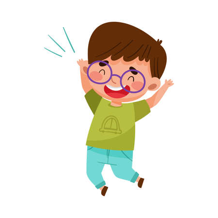 Happy Boy Character with Dark Hair Jumping High with Joy and Excitement Vector Illustration