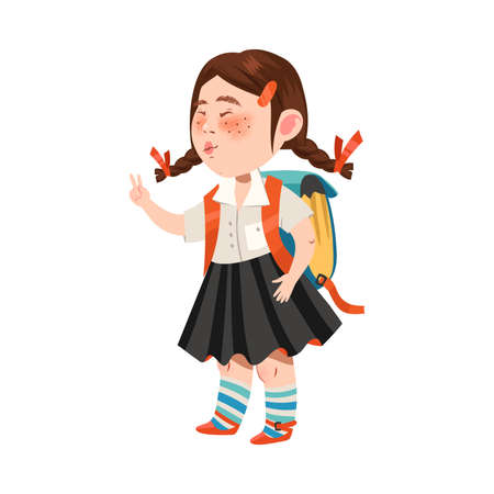 Cute Girl Character with Backpack Going to School Vector Illustration