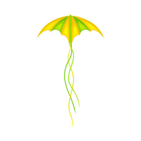Shaped Yellow and Green Kite as Tethered Craft with Wing Surface and Tail Vector Illustration