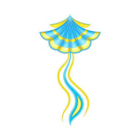 Shaped Yellow and Blue Kite as Tethered Craft with Wing Surface and Tail Vector Illustration