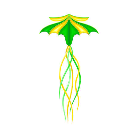 Bright Kite as Tethered Craft with Wing Surface and Tail Vector Illustration