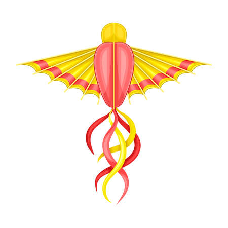 Flying Kite as Festive Toy Craft with Wings and Tail Vector Illustration