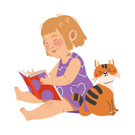 Cute Girl Character Sitting on the Floor with Open Book and Reading Vector Illustration 向量圖像