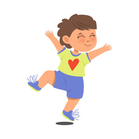 Funny Boy with Freckles Wearing Shorts Jumping with Joy and Excitement Vector Illustration