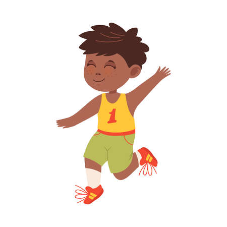 Smiling Boy with Freckles and Dark Hair Jumping with Joy and Excitement Vector Illustration