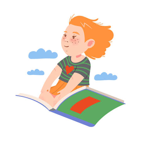 Cute Red Haired Girl Sitting on Open Book and Flying Vector Illustration 向量圖像