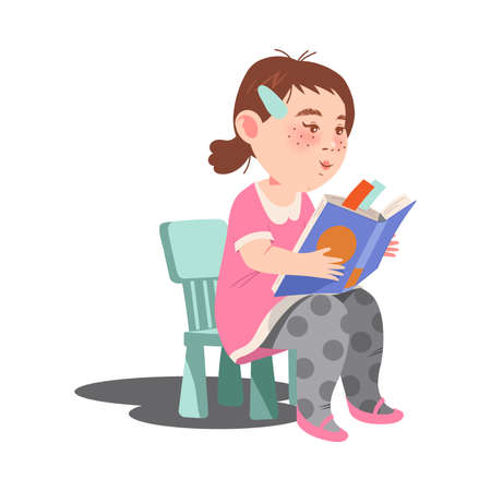 Cute Girl Character Sitting on Chair with Open Book and Reading Vector Illustration