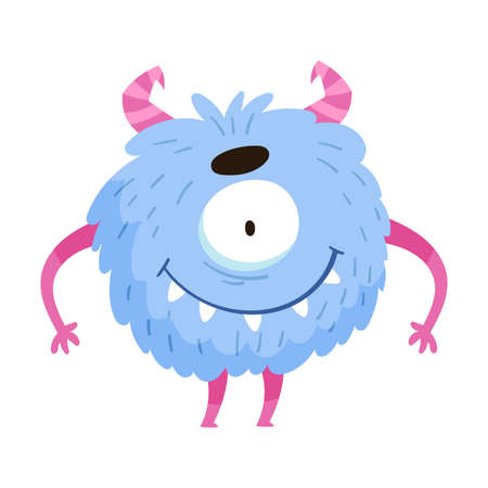 Blue Monster with Teeth and Horns Standing and Smiling Vector Illustration