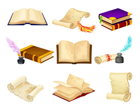 Old Books in Hard Cover with Pages and Scrolls with Quill Vector Set