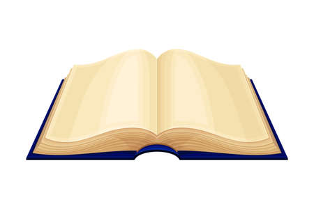 Open Old Book in Hard Cover with Yellowish Pages Vector Illustration Çizim