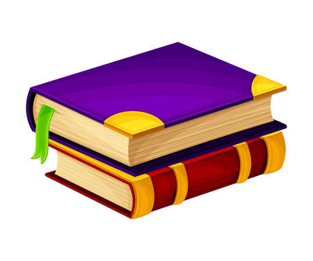 Pile of Closed Old Books in Hard Cover with Bookmark Vector Illustration