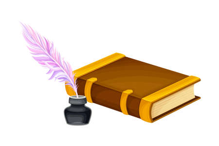 Closed Old Book in Hard Cover with Quill Rested in Inkstand Vector Illustration