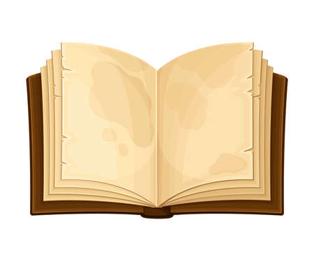 Open Old Book in Hard Cover with Stained Yellowish Pages Vector Illustration Çizim
