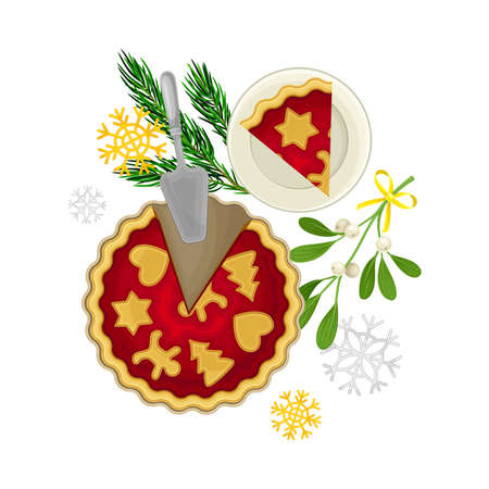 Sweet Pie with Cut off Piece and Fir Branch Rested Nearby as Christmas Vector Composition