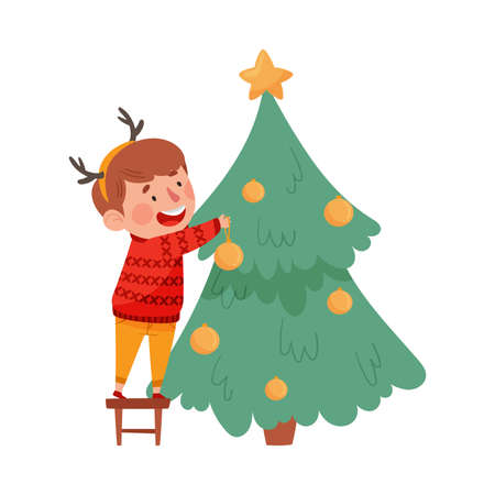 Cute Boy in Knitted Sweater and with Reindeer Antler Decorating Fir Tree with Bauble Vector Illustration
