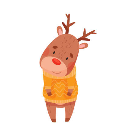 Reindeer with Antler in Warm Knitted Sweater as Christmas Character Vector Illustration Stock Illustratie