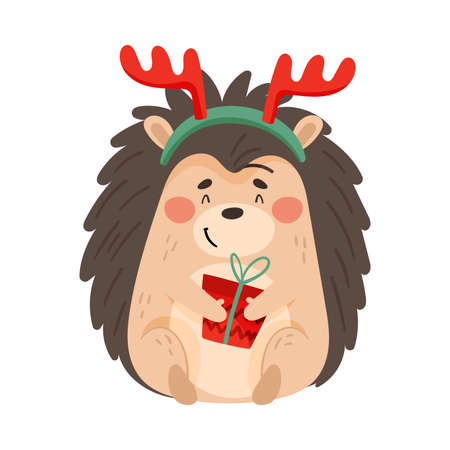 Cute Prickly Hedgehog Wearing Reindeer Antler Holding Wrapped Gift Box Vector Illustration
