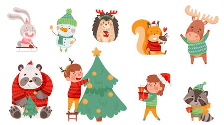 Christmas Characters with Animals Wearing Knitted Scarf and Sweater and Snowman Vector Set