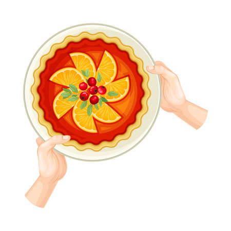 Human Hands Holding Festive Fruit Pie with Orange Slices on Plate Above View Vector Illustration