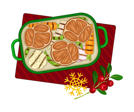 Grilled Vegetables with Meat Slices as Traditional Christmas Eve Dish Above View Vector Illustration