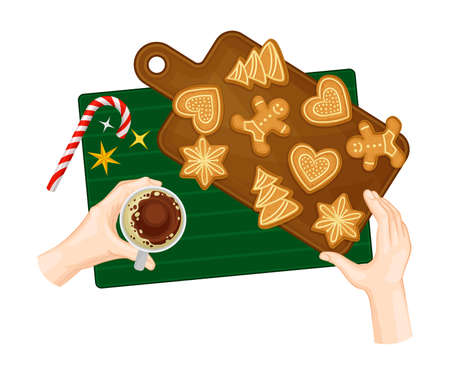 Freshly Baked Gingerbread Cookies Rested on Wooden Board and Hand Holding Coffee Cup Vector Illustration