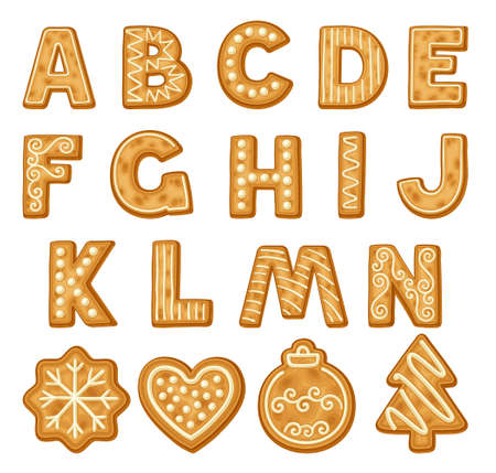 Freshly Baked Cookie Alphabet as Merry Christmas Symbol Vector Set