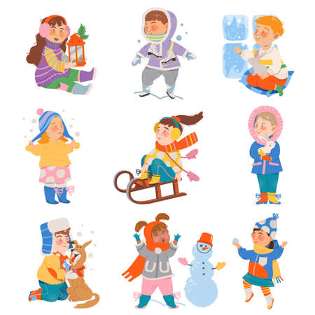 Excited Children Sledging, Building Snowman and Playing Snowballs Vector Set Illustration