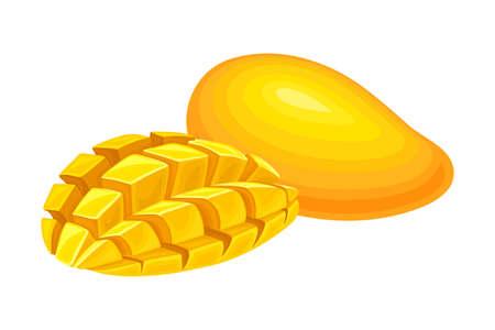 Orange Mango Juicy Fruit Cut in Cubes Vector Illustration 向量圖像
