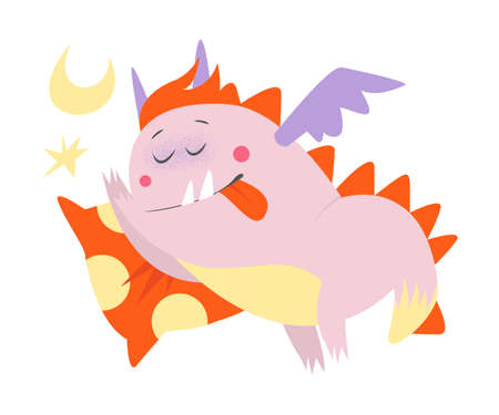 Funny Comic Monster with Wings Sleeping on Pillow Vector Illustration