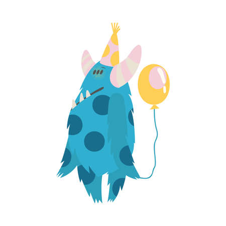 Hairy Monster with Spotted Body in Birthday Hat Holding Balloon Vector Illustration