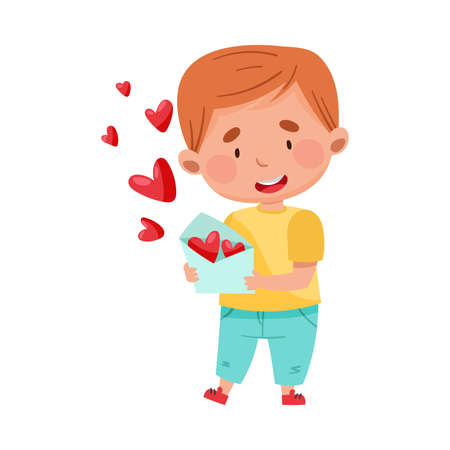 Flushed Red-haired Boy Character Holding Envelope with Heart Valentines Cards Vector Illustration Иллюстрация