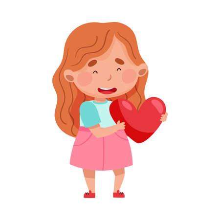 Cute Girl Character Holding Love Heart Vector Illustration