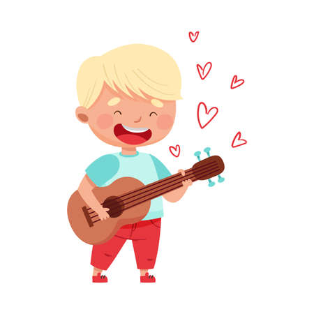 Cute Boy with Blonde Hair Playing Guitar and Singing Love Song Vector Illustration