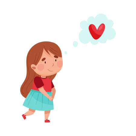 Pretty Girl Character Walking and Dreaming Vector Illustration Vettoriali