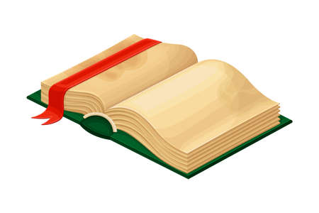Open Old Book in Hard Cover with Stained Yellowish Pages and Bookmark Vector Illustration
