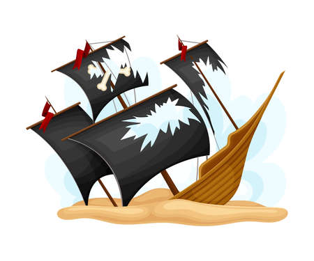 Ruined Pirate Ship or Vessel with Ripped Black Sail Rested on Sand Vector Illustration Ilustração