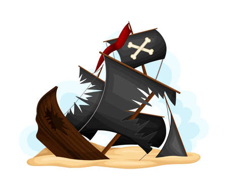 Ruined Pirate Ship or Vessel with Ripped Black Sail Rested on Sand Vector Illustration