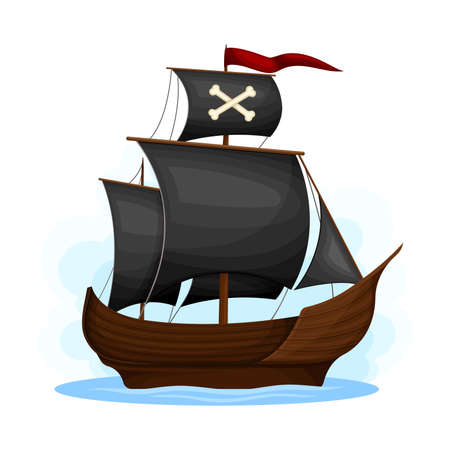 Wooden Pirate Ship or Vessel with Black Sail and Crossbones Vector Illustration Çizim