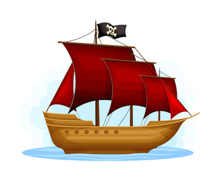 Wooden Pirate Ship or Vessel with Red Sail Vector Illustration